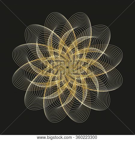 Abstract Golden Circular Pattern. Geometric Pattern With Visual Distortion Effect.  Op Art. Guilloch