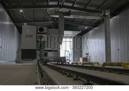 Krakovets, Ukraine - August, 2019: A сargo Vehicle Scanner, Screen Of Vehicles, Which Are Frequently