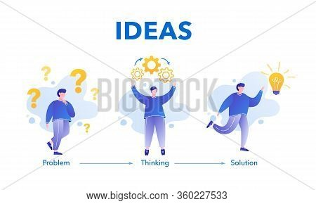 Businessman Solving A Problem. Brainstorming Concept. Steps Decision Problem, Solving Process, Gener