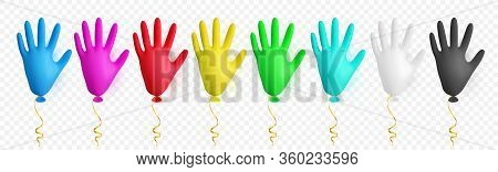 Realistic Colorful Medical Latex Glove Balloon. Shine Helium Balloon Made From Medical Latex Glove.
