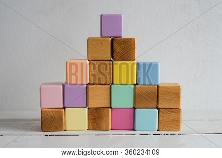 The Wooden Cubes Are Multicolored And Natural. Childrens Cubes. Developing Games For Children. Natur