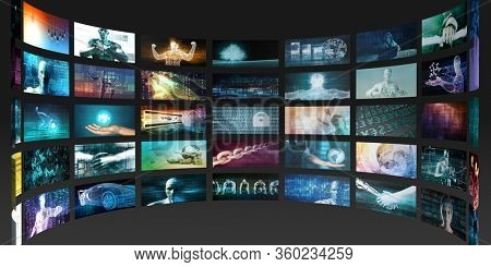 Video Marketing Concept with Flowing Screens Wall 3D Illustration Render