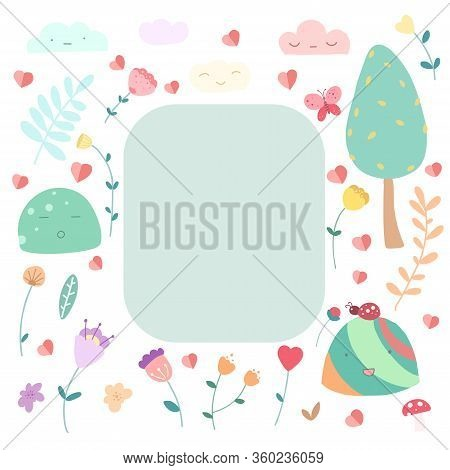 Cute Floral Girly Flat Vector Illustrations Set