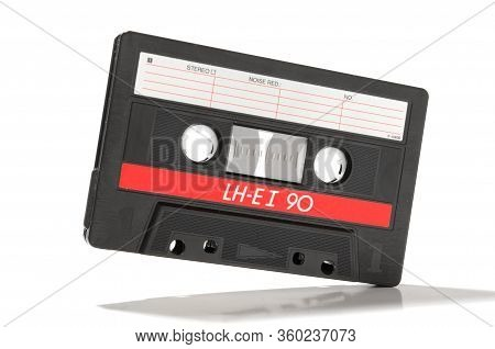 Audio Cassette With Magnetic Encoded Information Isolated On The White Background