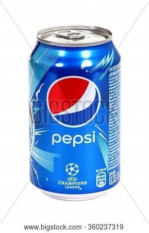 Novyy Urengoy, Russia - April 8, 2020: Aluminium Can Of The Pepsi Uefa Champions League Edition Isol