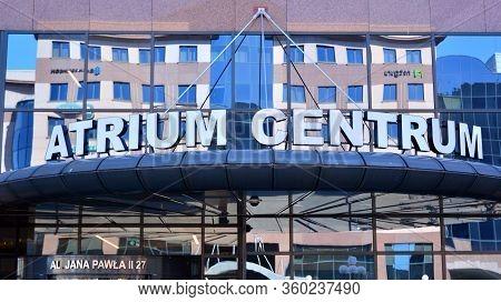 Warsaw, Poland. 8 April 2020. Sign Atrium Centrum. Company Signboard Atrium Centrum.