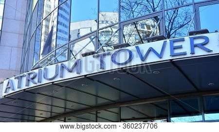 Warsaw, Poland. 8 April 2020. Sign Atrium Tower. Company Signboard Atrium Tower.