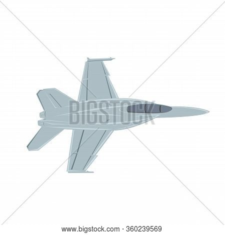 Jet Fighter Vector Illustration. Military Aircraft. Carrier-based Aircraft. Modern Supersonic Fighte