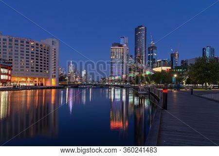 Melbourne, Australia - December 4: Evening Landscape Of The South Melbourne On December 4, 2018 In M
