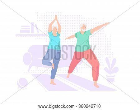 Elderly Couple Doing Yoga At Home. Indoor Retired Leisure. Active Healthy Lifestyle Quarantined. Spo