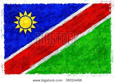 Drawing Of The Flag Of Namibia