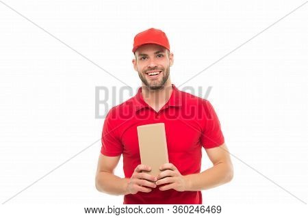 Promised Quality Service. Man Delivery Service. Happy Guy Hold Parcel Isolated On White. Express Cou