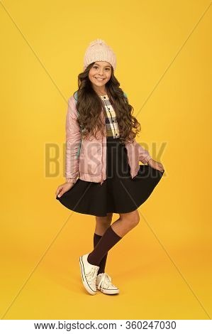 Schoolgirl Tidy Outfit With Backpack. Fashion Accessory. Regular Schoolgirl. Girl Smiling Face Littl