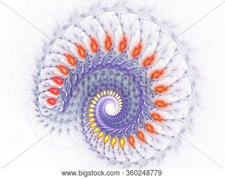 Spirals - Mysterious Psychedelic Relaxation Pattern. Glowing Spiral Banner, Computer Generated Abstr