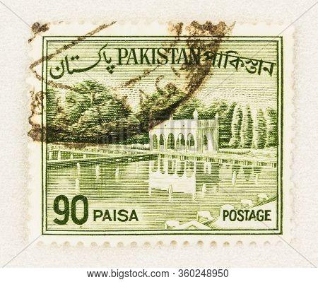 Seattle Washington - April 3, 2020: Close Up Of Green Pakistan Stamp Featuring Shalimar Gardens Laho