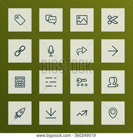 Interface Icons Line Style Set With Forward, Note, Mike And Other Link Elements. Isolated Vector Ill