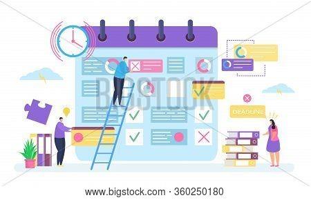 Business Planning, Deadline Concept Vector Illustration. Cartoon Tiny People Work, Employee Characte