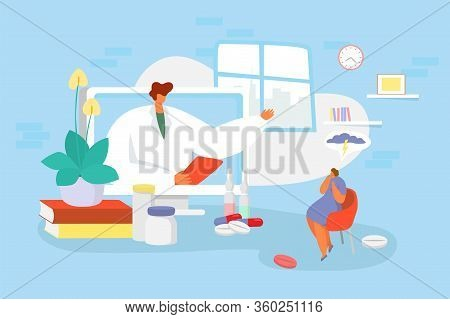 Doctor Consultation Online Vector Illustration. Cartoon Physician Character Advising, Consulting Tin