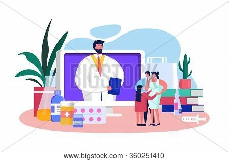 Family Doctor Online Vector Illustration. Cartoon Flat Character Advising, Consulting Tiny Father, M
