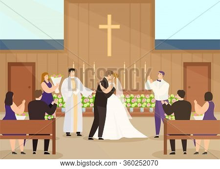 Wedding Ceremony In Church Vector Illustration. Cartoon Happy Couple Characters Getting Married In C