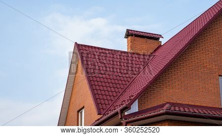 Red Metal Tile Roof. Roof Metal Sheets. Modern Types Of Roofing Materials. Roof Of The House, Metal