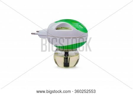 Green Electric Fumigator With A Bottle Of Liquid From Insects, Object Is Isolated, White Background
