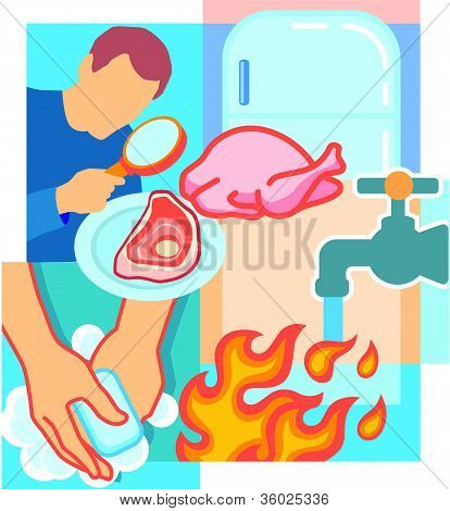 Collage Of A Person Looking At Meat With A Magnifying Glass