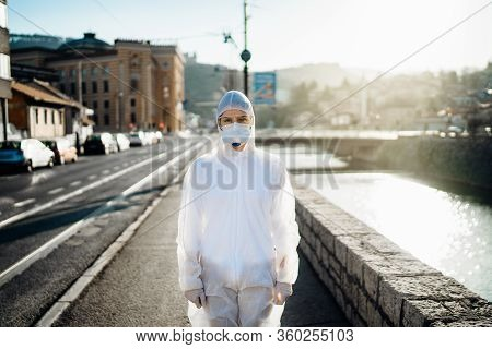 Covid-19 Coronavirus Doctor In Hazmat Suit.infectious Disease Pandemic Medical Worker.female Physici