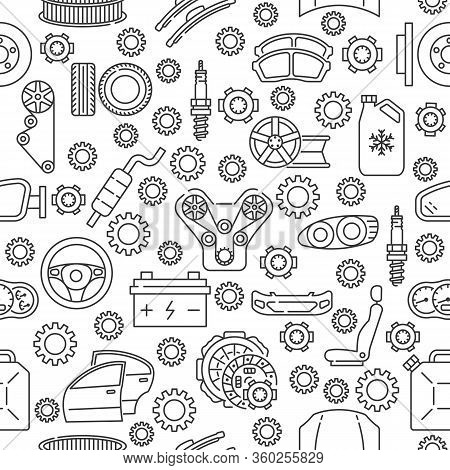 Seamless Auto Service Pattern With Flat Line Icon. Gray Auto Parts Icons On White Background.
