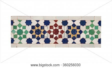 Old Blue Green Red Yellow White Ceramic Tiles In Oriental East  Style. As Background Texture. Isolat