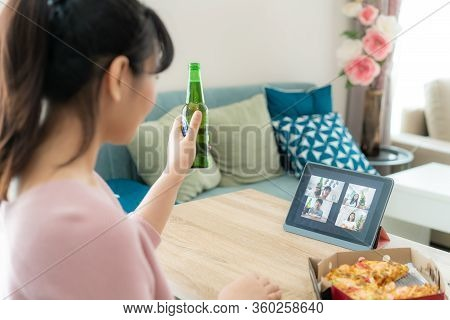Asian Woman Virtual Happy Hour Meeting Party And Drinking Alcohol Beer Online Together With Her Frie