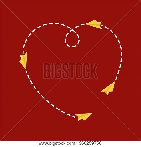 Paper Airplane Shape Love Route, Travel Concept