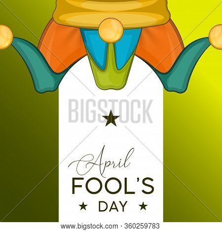 April Fools Day Card With A Jester Hat - Vector