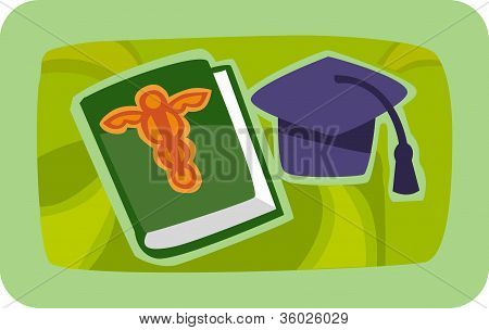 Illustration Of A Grad Cap And Medical Journal