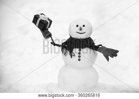 The Morning Before Christmas. Snowmen. Christmas Snowman On White Snow Background. Snowman Wish You