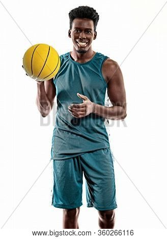 one african basketball player young man in studio isolated on white background