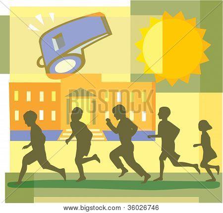 Children Running; School And Whistle Montage