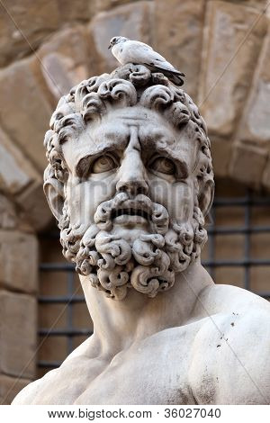 Head Of The Statue Of Hercules By Bandinelli (1533)