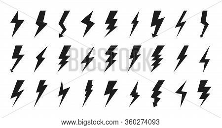 Black Lightning Bolt Icon Set. Empty Silhouette Design For Logotype Electricity. Glyph Flash Pictogr