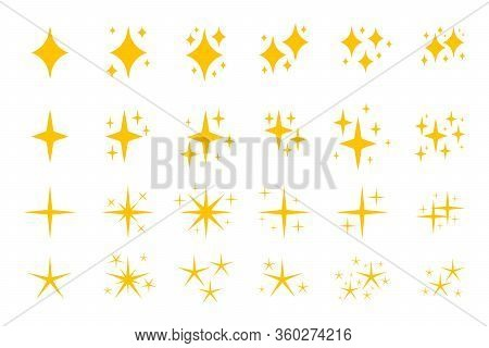 Yellow Flat Sparkles Symbols Icon Set. Graphic Element Shiny Flash. Decoration Starry Twinkle. Glitt