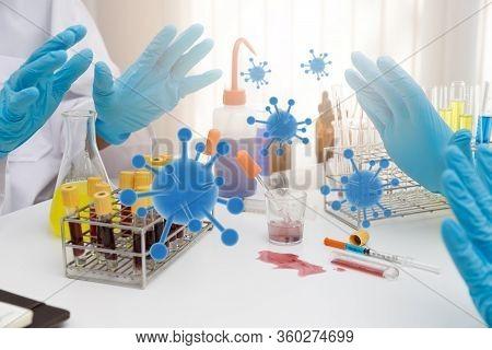 Research And Development Concept, Laboratory Scientist Researching Covid-19(corona Virus) Vacine At