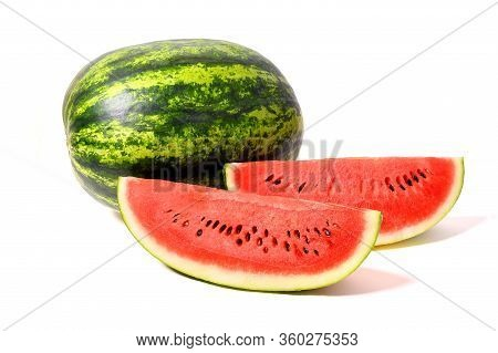 Watermelon And Watermelon Slice Isolated On White Background.