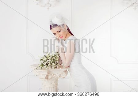 Retro Woman Portrait. Closeup Portrait Smiling Happy Young Bride Looking Down Wards Isolated White W