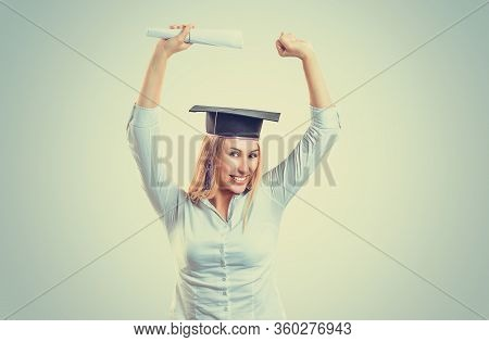 Portrait Closeup Beautiful Smile Happy Ecstatic Graduate Graduated Student Girl Young Woman In Cap G