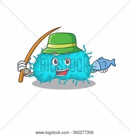 Cartoon Design Concept Of Bacteria Prokaryote While Fishing