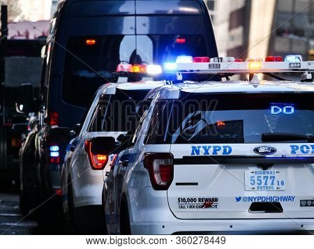 New York, United States, Usa March 26, 2020: Police Escort During Covid 19 Pandemic , Police And Hel