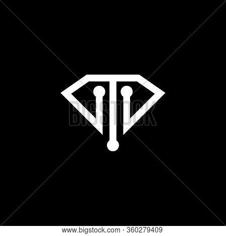 Initial Letter T M Logo Template With Modern Technology Symbol In Flat Design Monogram Illustration