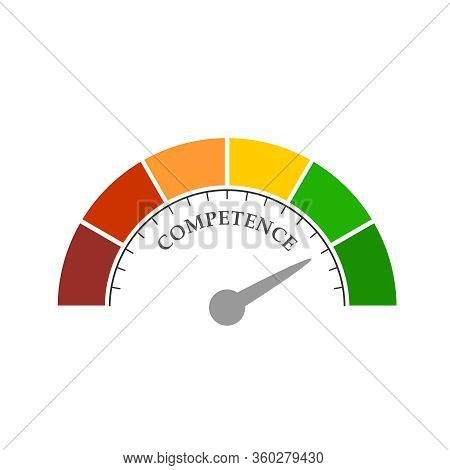 Competence Level Scale With Arrow. The Measuring Device Icon. Sign Tachometer, Speedometer, Indicato