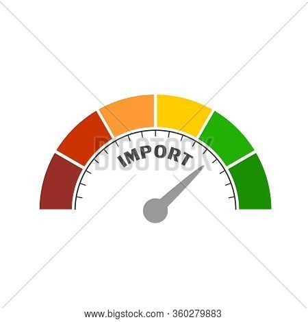 Import Level Scale With Arrow. The Measuring Device Icon. Sign Tachometer, Speedometer, Indicators.