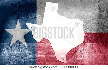 Image Relative To Usa Travel. Texas State Map On Concrete Wall. Flag Of The Usa. 3d Rendering
